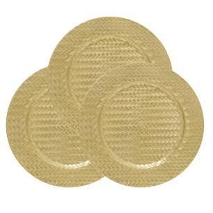 Conjunto com 4 Sousplat na Cor Dourada com Detalhes Decorativos - 2x33cm