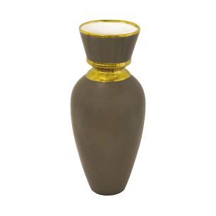 Vaso Decorativo em Porcelana Marrom com Detalhes Dourado - 36x18x18cm