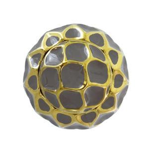 Potiche Decorativo Grande em Porcelana Marrom e Dourado