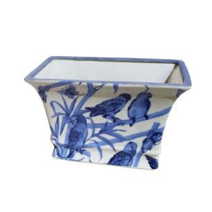 Vaso Decorativo em Cerâmica com Desenhos de Pássaros Azuis - 17x26x18cm