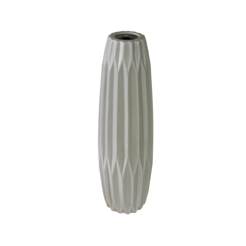 Vaso Decorativo em Cerâmica na Cor Cinza Claro - 45cm