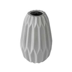 Vaso Decorativo Harmonic em Cerâmica na Cor Cinza Claro - 25cm