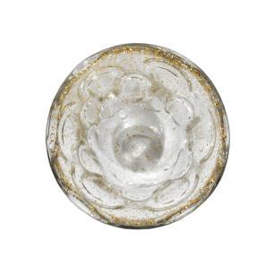 Vaso Decorativo em Murano Incolor com Detalhes em Dourado - 16x14cm