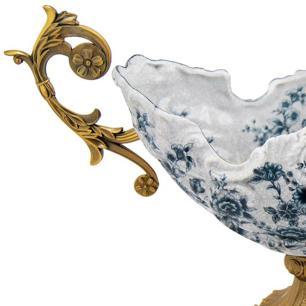 Centro de Mesa em Porcelana Apliques em Bronze - 24x52x16cm
