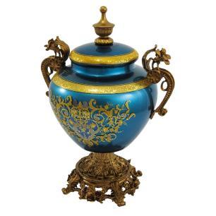 Potiche em Cristal Detalhes em Azul e Dourado - 33x22x17cm