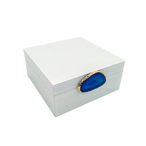 Caixa Decorativa Branca com Detalhes Azul - 8,5x18x18cm