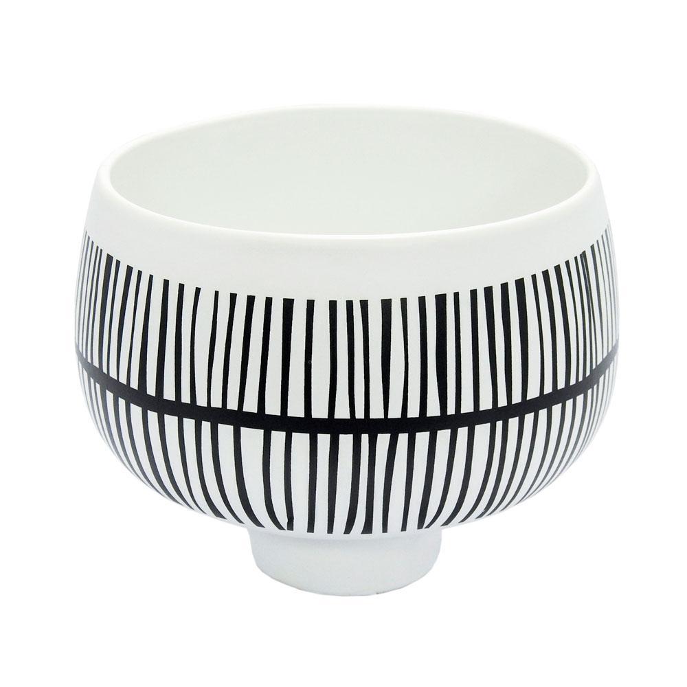 Vaso Decorativo Preto e Branco em Cerâmica - 14x18cm