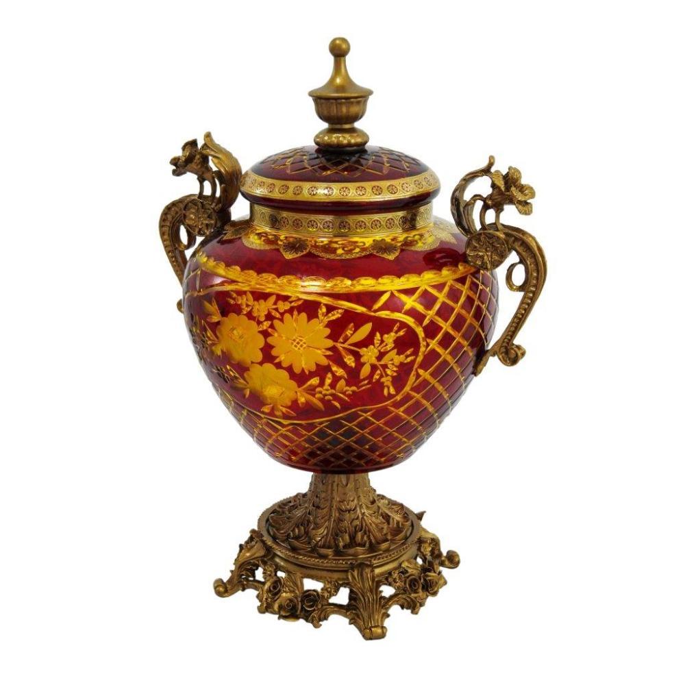 Potiche em Cristal Vinho e Dourado - 33x22x17cm
