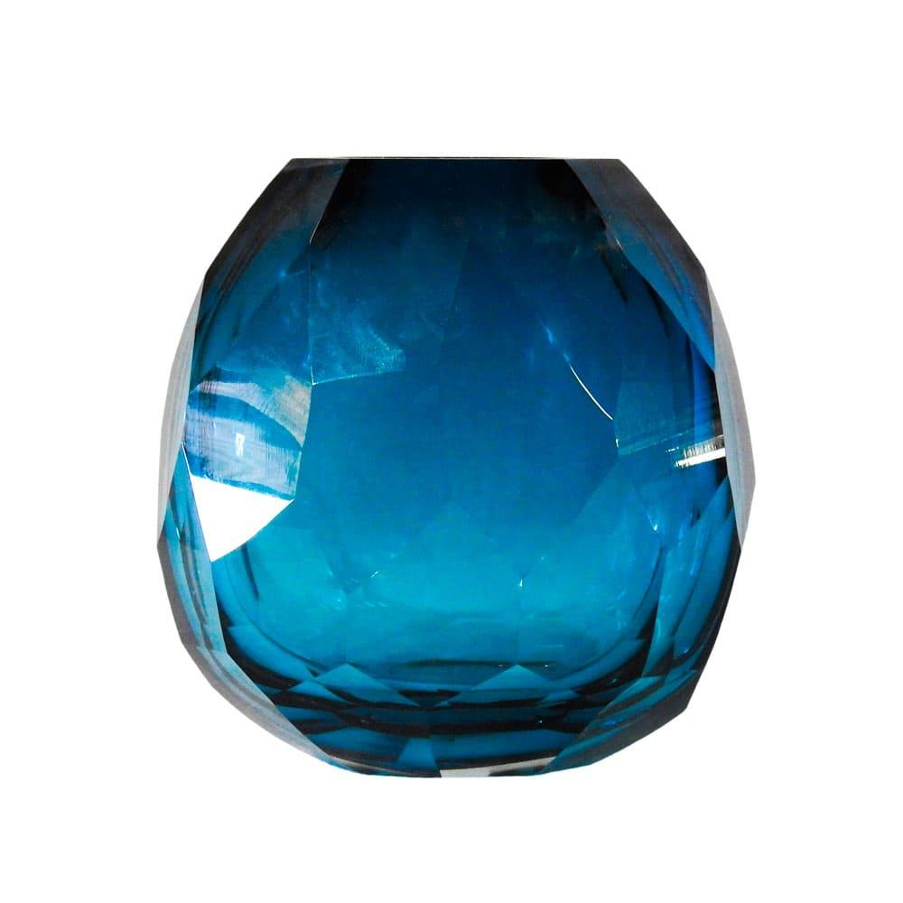 Vaso Decorativo em Murano na Cor Azul - 17x16x13cm