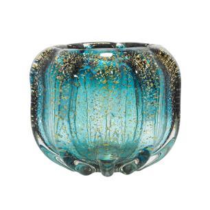 Vaso em Murano Azul com Detalhes Dourado - 18x15x18cm