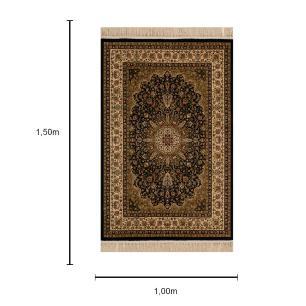 Tapete Persa Bege com Detalhes em Preto - 100x150cm