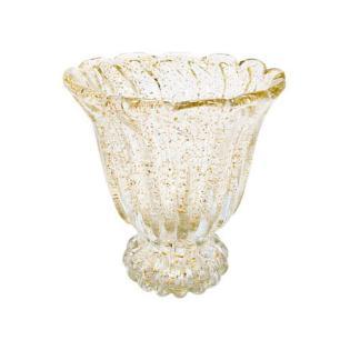 Centro de Mesa em Murano na Cor Bege Champagne - 19x19cm