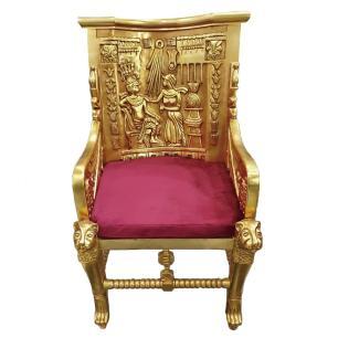Poltrona Folheada a Ouro com Estofado Vermelho - 120x60x50cm