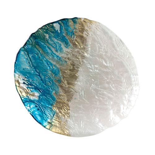 Centro de Mesa Deep Sea em Vidro cor Azul e Perola - L27xP23xA2cm