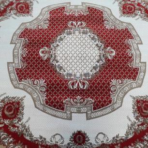 Tapete Persa Vermelho com Detalhes Bege -200x200cm