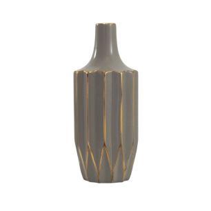 Vaso Decorativo Marrom Claro com Detalhes em Dourado - 35x10x10cm