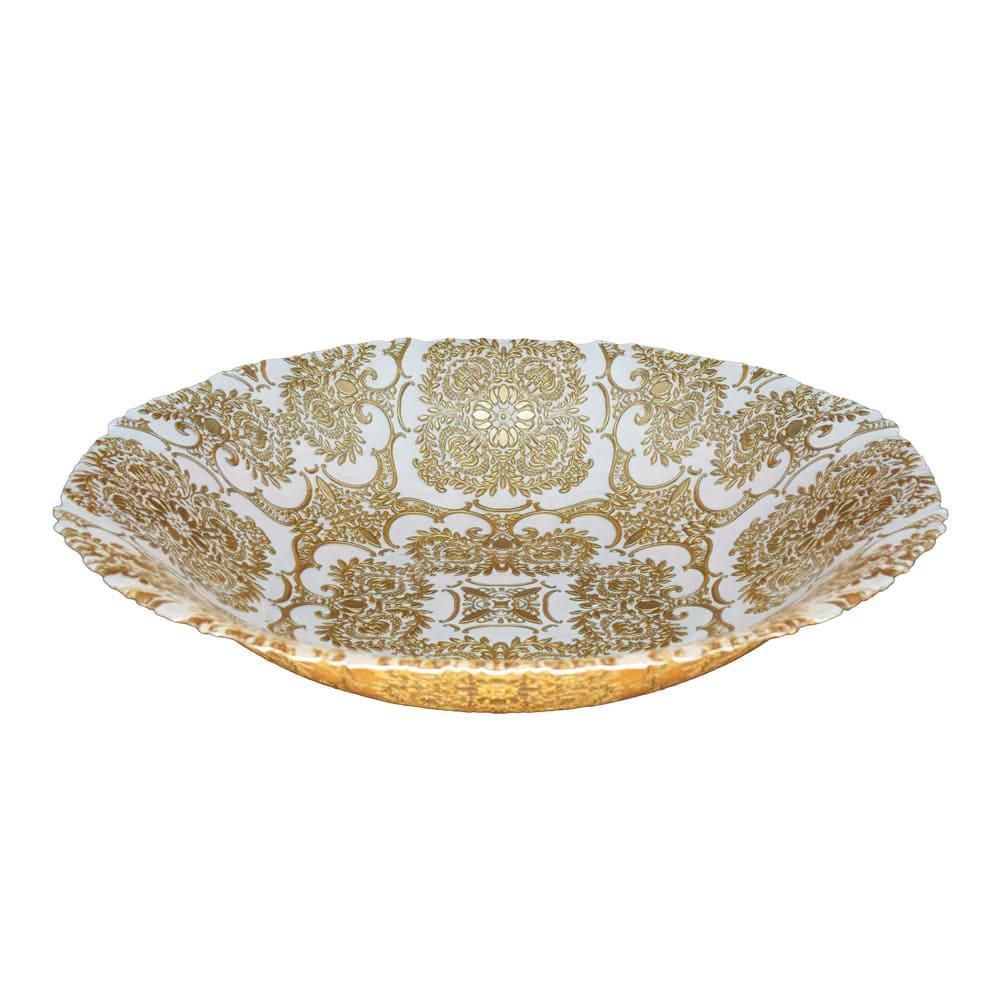Centro de Mesa Decorativo cor Creme com Ouro - 40cm