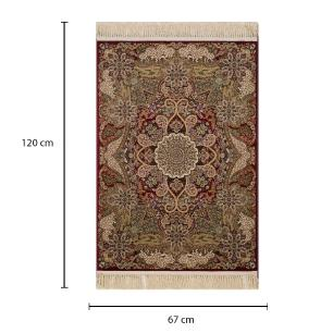 Tapete Persa Isfahan Vermelho com Detalhes Florais - 67x120cm
