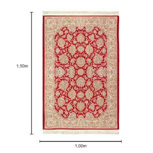 Tapete Iraniano Aubusson Vermelho com Detalhes Bege - 150x100cm