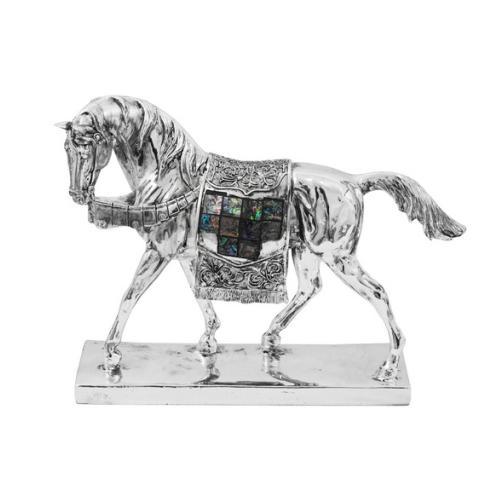 Escultura Decorativa de Cavalo em Resina - 25x28,5x8,5cm