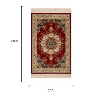 Tapete Persa Tabriz Vermelho com Detalhes em Bege e Preto - 57x90cm