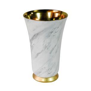 Vaso Decorativo em Porcelana na Cor Branca com Detalhes em Dourado - 39x25cm