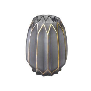 Vaso Decorativo em Vidro na Cor Cinza com Detalhes em Dourado - 19x14cm