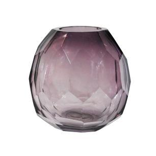 Vaso Decorativo em Vidro na Cor Violeta - 17x16x13cm