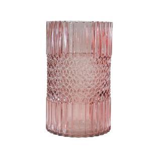Vaso Decorativo em Vidro na Cor Rosa - 25cm