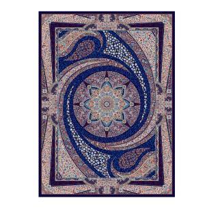 Tapete Persa com Franja Azul Medalhão Floral - 100x150cm