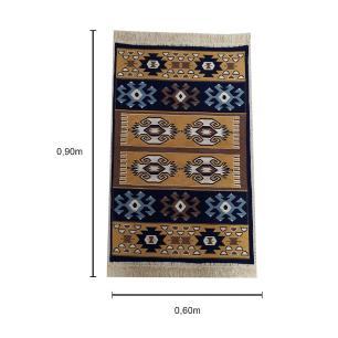 Tapete Turco Kilim Marrom com Detalhes em Bege - 90x60cm