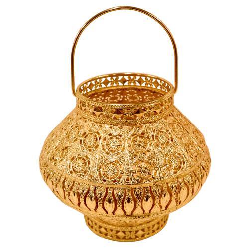 Lanterna Kalifah Decorativa em Ferro cor Dourado - D23xA19.5cm