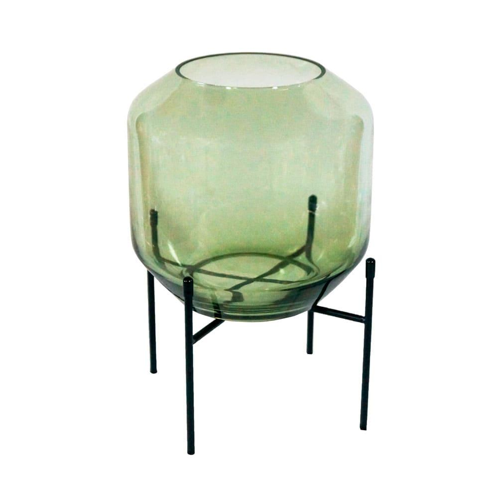 Vaso Decorativo em Vidro na Cor Verde - 31x18cm