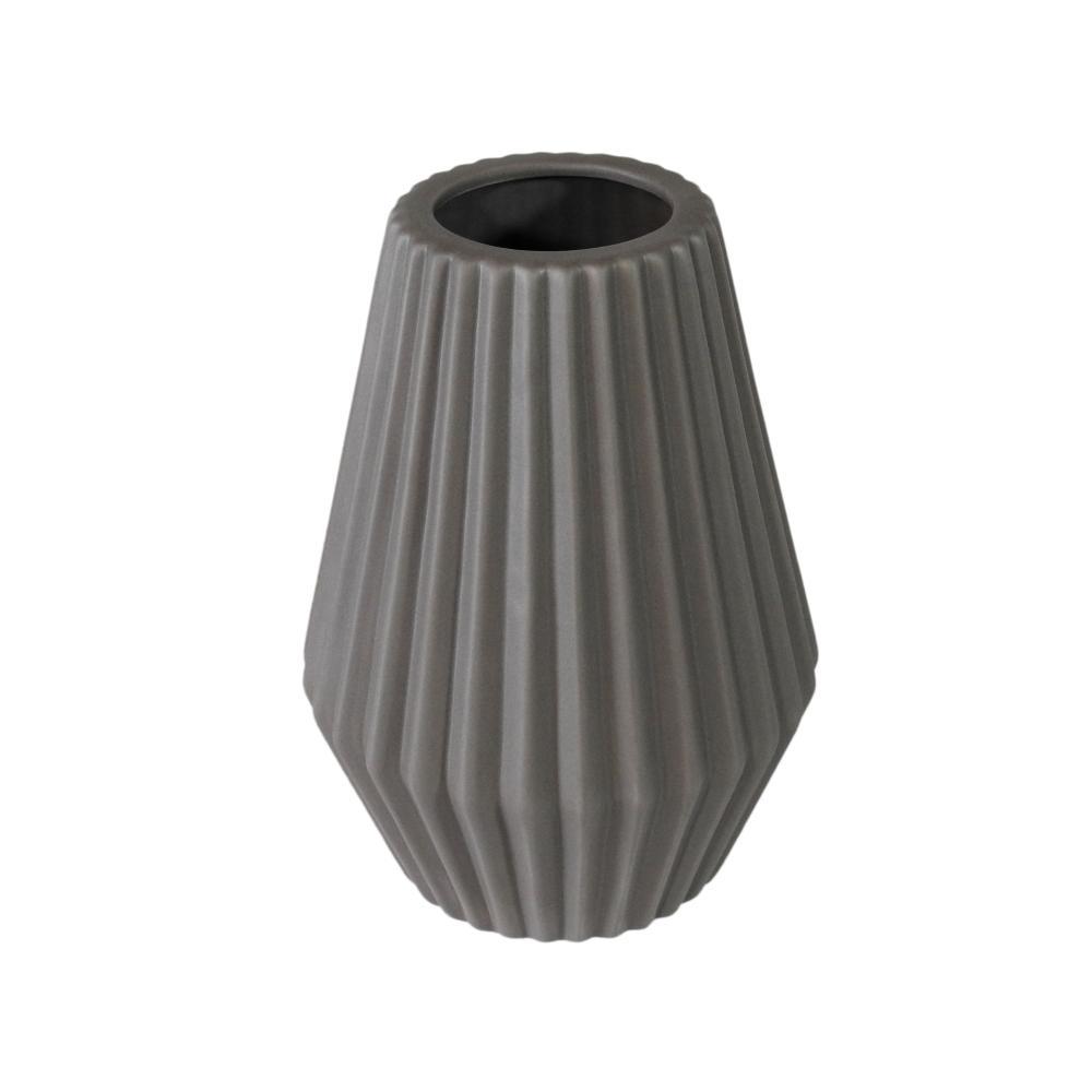 Vaso Decorativo em Cerâmica na Cor Cinza Escuro - 25x16cm