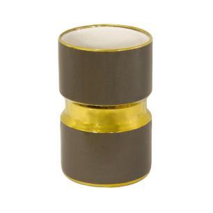 Vaso Decorativo em Porcelana Marrom e Dourado