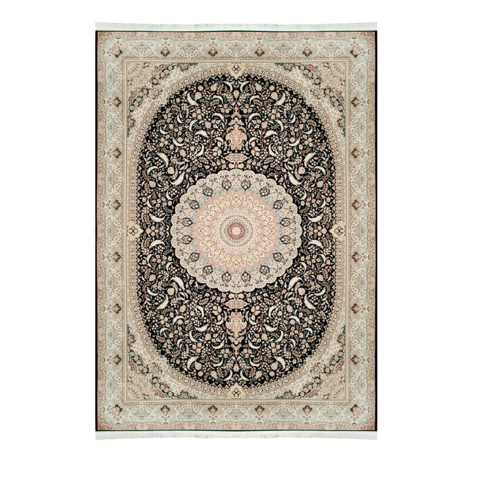 Tapete Iraniano Beluchi Preto com Detalhes Bege - 250x200cm