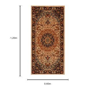 Tapete Persa Tabriz Creme com Detalhes Preto - 1,20x0,60cm