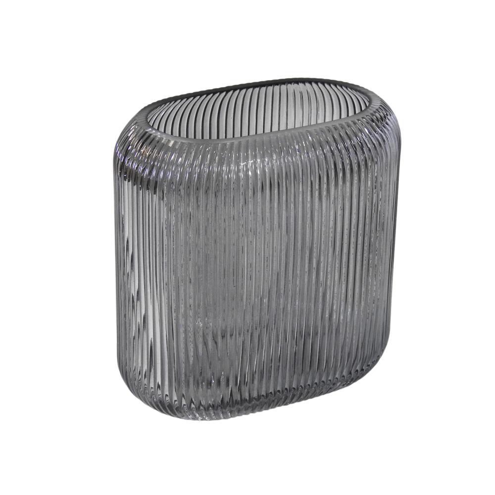 Vaso Decorativo em Vidro Fumê - 17x16x9cm