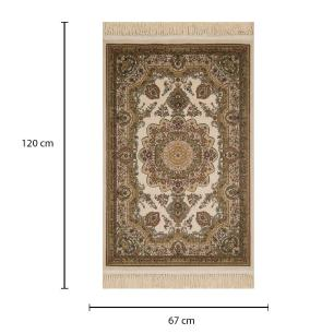 Tapete Persa Kerman Bege com Detalhes em Verde - 67x120cm