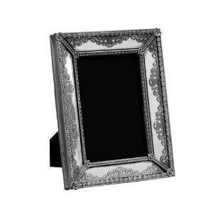 Porta Retrato Revestido em Resina Prata - 20x15,5cm