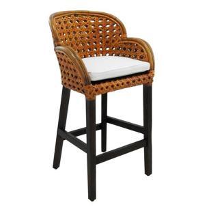 Cadeira Rattan em Madeira Estofado Branco - 116x60x63