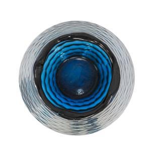 Vaso Decorativo em Vidro na Cor Azul - 43x18,5cm