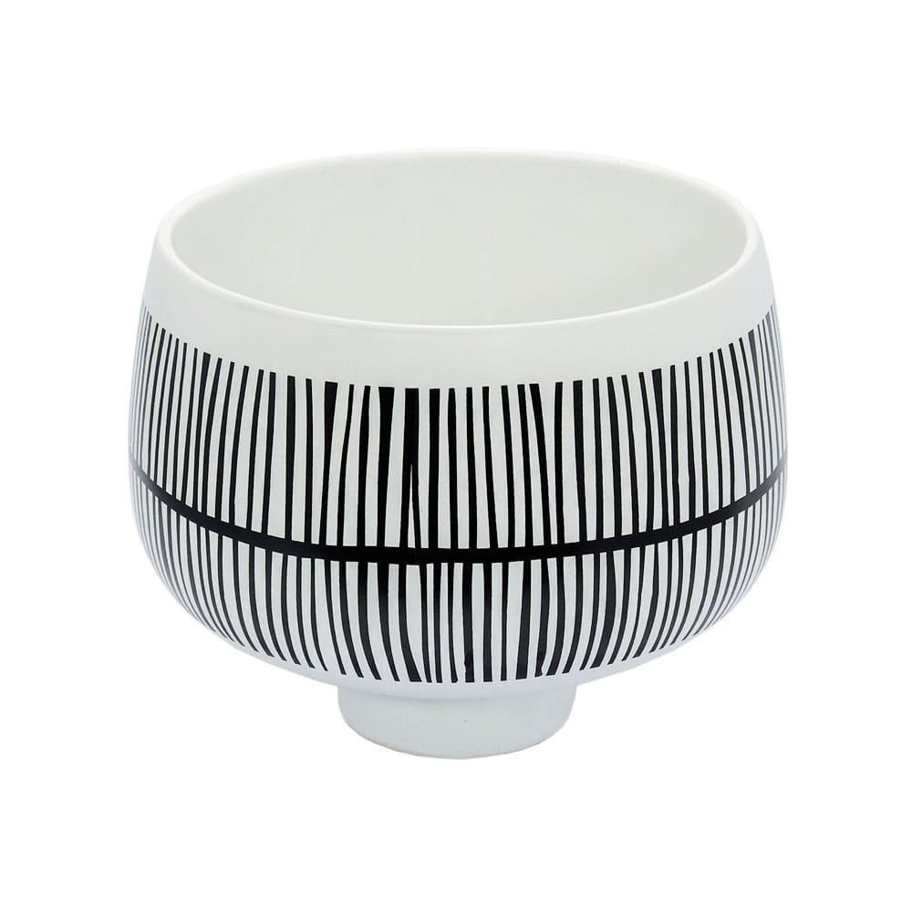 Vaso Decorativo Preto e Branco em Cerâmica - 20x23cm
