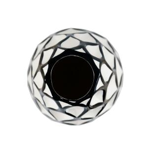 Vaso Decorativo Branco com Detalhes em Preto - 48x17x17cm