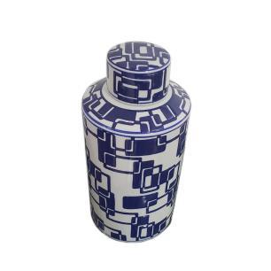 Potiche Decorativa de Cerâmica Azul e Branco - 30x14cm
