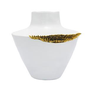 Vaso Decorativo Branco com Detalhes Dourado - 25x25x25cm