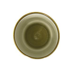 Vaso Decorativo em Porcelana Marrom com Detalhe em Dourado - 26x17x17cm