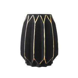 Vaso Decorativo em Vidro na Cor Preta com Detalhes em Dourado - 19x14cm