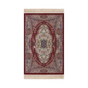 Tapete Persa Mashad Bege com Detalhes em Vermelho - 100x150cm