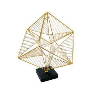 Escultura Decorativa em Metal Dourado e Base Preta - 41x32x32cm